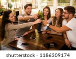 group of friends hanging out... | Shutterstock . vector #1186309174