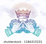 hands with vintage flowers and... | Shutterstock .eps vector #1186315231