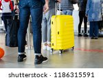 tourists with big yellow... | Shutterstock . vector #1186315591