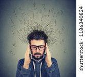 closeup sad young man with... | Shutterstock . vector #1186340824