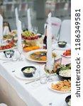 wedding setup. food. | Shutterstock . vector #1186349581