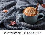pumpkin latte with spices....   Shutterstock . vector #1186351117