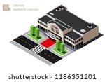 isometric cinema building ...   Shutterstock . vector #1186351201