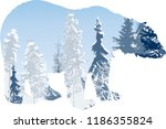 illustration with winter forest ... | Shutterstock .eps vector #1186355824