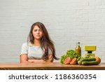 concept of diet. portrait of a... | Shutterstock . vector #1186360354