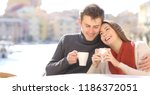 couple in love flirting in a... | Shutterstock . vector #1186372051