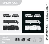 set of buses flat black and... | Shutterstock .eps vector #1186373074