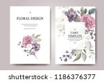 set of card with flower rose ... | Shutterstock .eps vector #1186376377