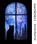 Stock photo a card with a window in the night and a cat s silhouette spruce forest behind the window and a 1186382494