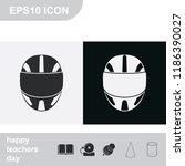 racing helmet flat black and... | Shutterstock .eps vector #1186390027