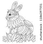 simple line zentangle style of... | Shutterstock .eps vector #1186397551