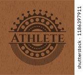 athlete wooden emblem   Shutterstock .eps vector #1186397911