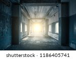 long corridor or tunnel in... | Shutterstock . vector #1186405741