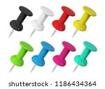 realistic colorful push pins... | Shutterstock .eps vector #1186434364