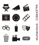 cinema icons over white... | Shutterstock .eps vector #118643794