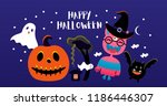 vector illustration. halloween... | Shutterstock .eps vector #1186446307