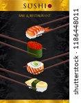sushi bar menu design. japanese ... | Shutterstock .eps vector #1186448011