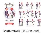 male friends greeting set. men  ... | Shutterstock .eps vector #1186453921
