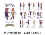 male friends greeting set. men  ... | Shutterstock .eps vector #1186453927