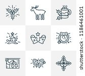 holiday icons line style set... | Shutterstock .eps vector #1186461001