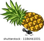 ant carrying a pineapple fruit | Shutterstock .eps vector #1186461031