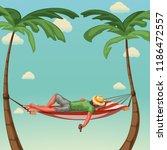 relax in hammock | Shutterstock .eps vector #1186472557