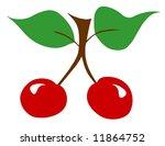 Red cherries twig leaf leaves illustration fresh - stock photo