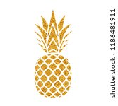 pineapple golden with leaf.... | Shutterstock .eps vector #1186481911