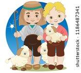 two children dressed as... | Shutterstock .eps vector #1186487341