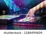 hand mixing music on dj... | Shutterstock . vector #1186494604