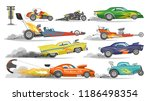 race car vector drag racing on... | Shutterstock .eps vector #1186498354