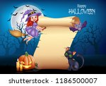 cartoon little witch flying on... | Shutterstock .eps vector #1186500007