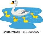 Cartoon Swan Family Swimming I...