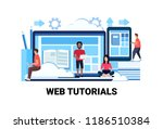 mix race people studying online ... | Shutterstock .eps vector #1186510384