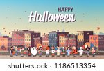 kids wearing monsters costumes... | Shutterstock .eps vector #1186513354