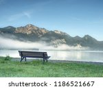 bench under a tree on a lake... | Shutterstock . vector #1186521667