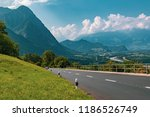 View of the landscape in the Alpine Principality of Liechtenstein across the border into Switzerland - stock photo