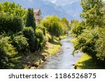 The Oberaukanal flowing through the outskirts of Vaduz, Liechtenstein - stock photo