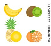 set of colorful fruits icon ... | Shutterstock .eps vector #1186539754