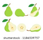 pears. cut green pear fruits.... | Shutterstock .eps vector #1186539757