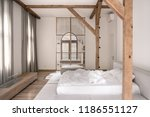 contemporary bedroom with white ... | Shutterstock . vector #1186551127