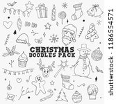 christmas doodles sketch pack... | Shutterstock .eps vector #1186554571