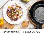 chicken salad with avocado ... | Shutterstock . vector #1186590727
