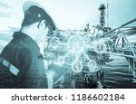double exposure of engineer or... | Shutterstock . vector #1186602184