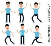 set of male characters in flat... | Shutterstock .eps vector #1186604227