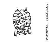 halloween creepy mummy line art ... | Shutterstock .eps vector #1186608277