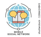 icon mobile social network.... | Shutterstock .eps vector #1186614841