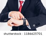 business man wearable and touch ... | Shutterstock . vector #1186625701