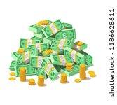 big pile of cash money... | Shutterstock .eps vector #1186628611
