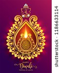 happy diwali festival card with ... | Shutterstock .eps vector #1186633114